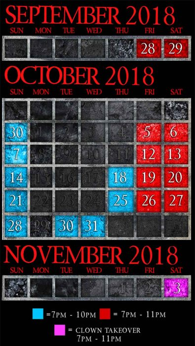 2018 Chicago haunted house schedule and days open at Midnight Terror haunted house in Oak Lawn open now