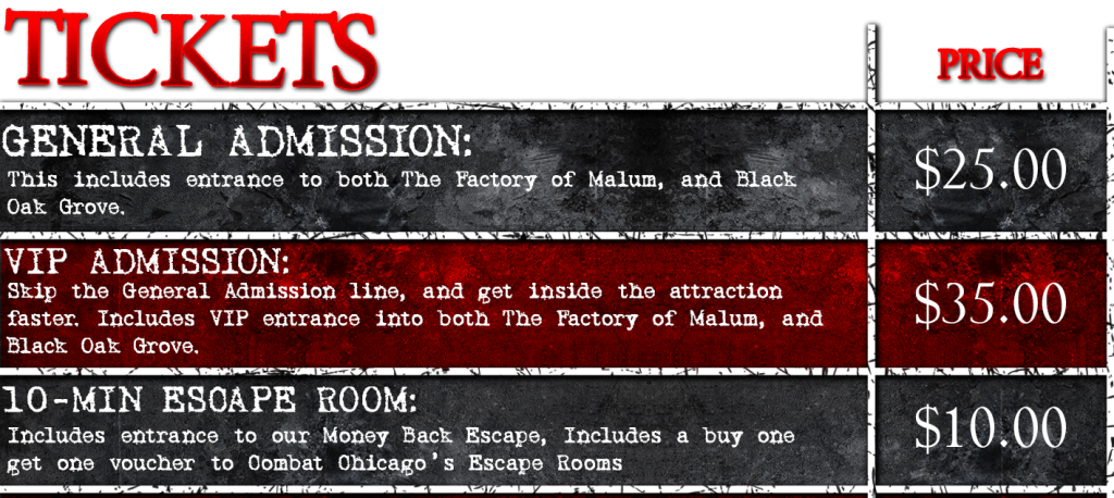 Chicago haunted house ticket prices for Midnight Terror haunted house in Oak Lawn